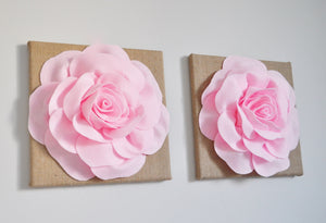 Light Pink Rose on Burlap Canvas Set of Two - Daisy Manor