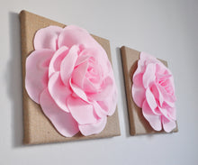 Load image into Gallery viewer, Light Pink Rose on Burlap Canvas Set of Two - Daisy Manor