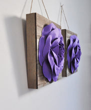 Load image into Gallery viewer, Lavender Roses on Wood Plank Wall Hanging Set of Two - Daisy Manor
