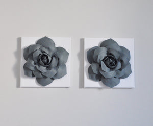 Slate Gray Succulent Wall Art Cavnas Set - Daisy Manor
