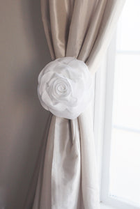 White Rose Flower Curtain Tie Back - Daisy Manor