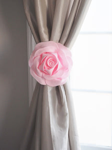 Light Pink Rose Flower Curtain Tie Back Set of Two - Daisy Manor