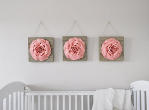 Farmhouse Rose on Wood Plank Set of 3 - Daisy Manor