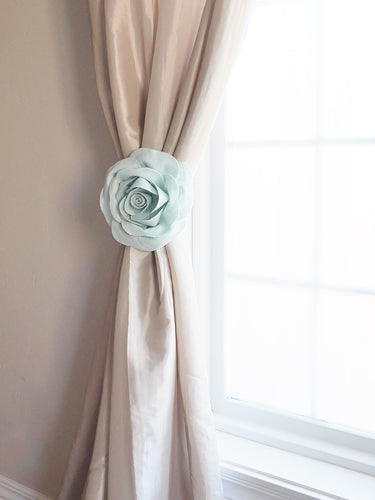 Light Blue Rose Curtain Tieback - Daisy Manor