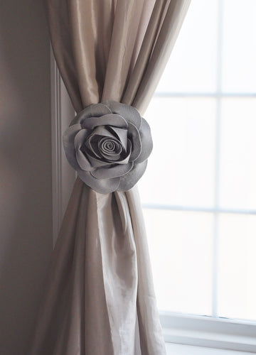 Grey 3D Rose Curtain Tie Back - Daisy Manor