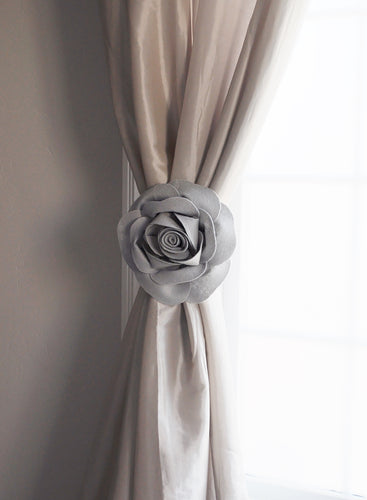 Gray Rose Curtain Tie Back Set of Two - Daisy Manor