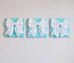 Three White Bows on Aqua Wall Art Large Bow Wall Decor Set - Daisy Manor