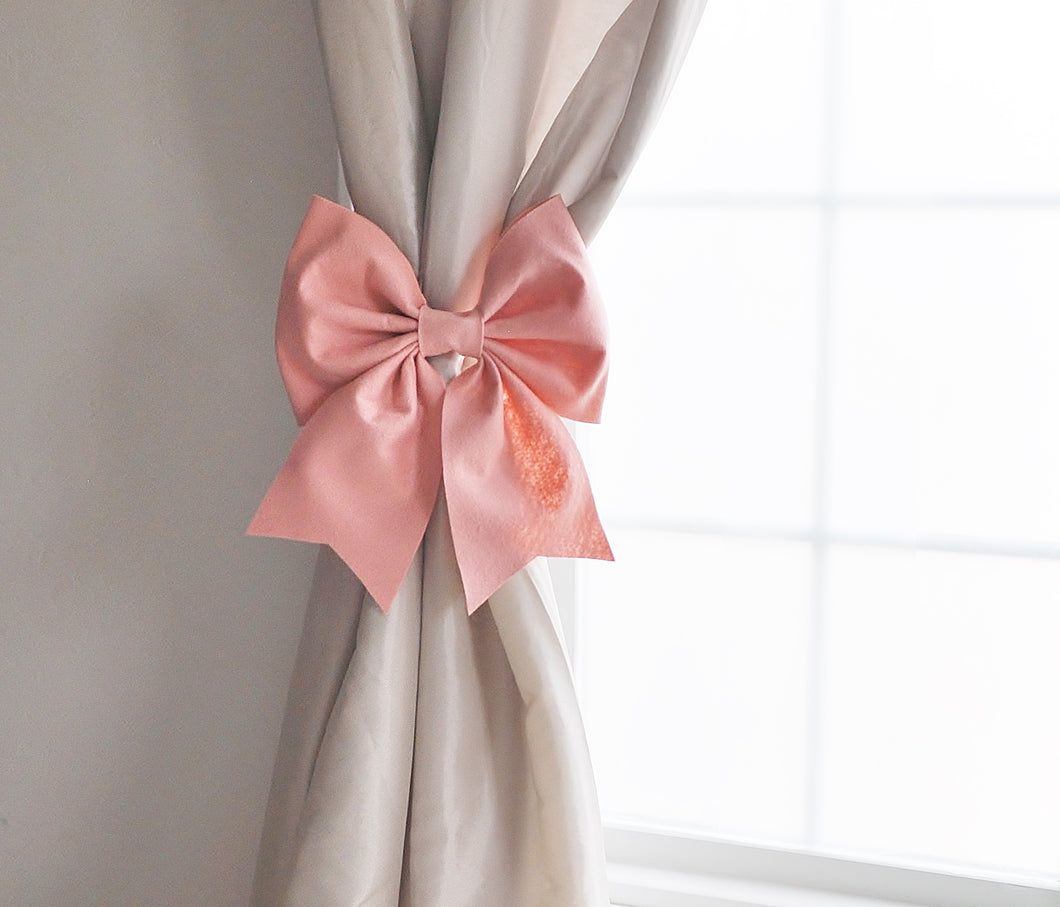 Blush Bow Curtain Tie Curtain Hold Back - Daisy Manor