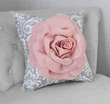 Load image into Gallery viewer, Decorative Rose Pillow Blush Pink Flower Pillow - Daisy Manor