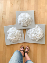 Load image into Gallery viewer, White Roses on Gray Canvases Set of THREE - Daisy Manor