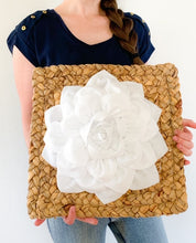 Load image into Gallery viewer, White Dahlia Flower on Weaved Square Water Hyancith Wall Art - Daisy Manor