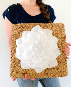White Dahlia Flower on Weaved Square Water Hyancith Wall Art - Daisy Manor