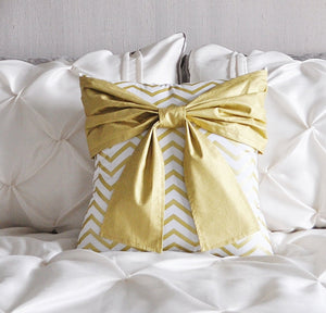 Gold Bow on Gold Zig Zag Pillow - Daisy Manor