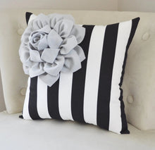 Load image into Gallery viewer, Black White Stripe Pillow - Daisy Manor