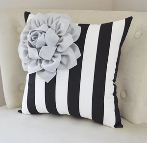 Black White Stripe Pillow - Daisy Manor