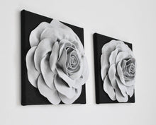 Load image into Gallery viewer, Gray Rose on Black Canvas Set - Daisy Manor