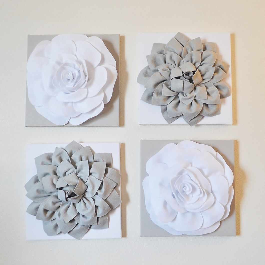 Floral Gray and White Canvas Wall Art Sets - Daisy Manor
