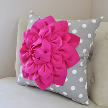 Load image into Gallery viewer, Dahlia on Polka Dot Pillow - Daisy Manor
