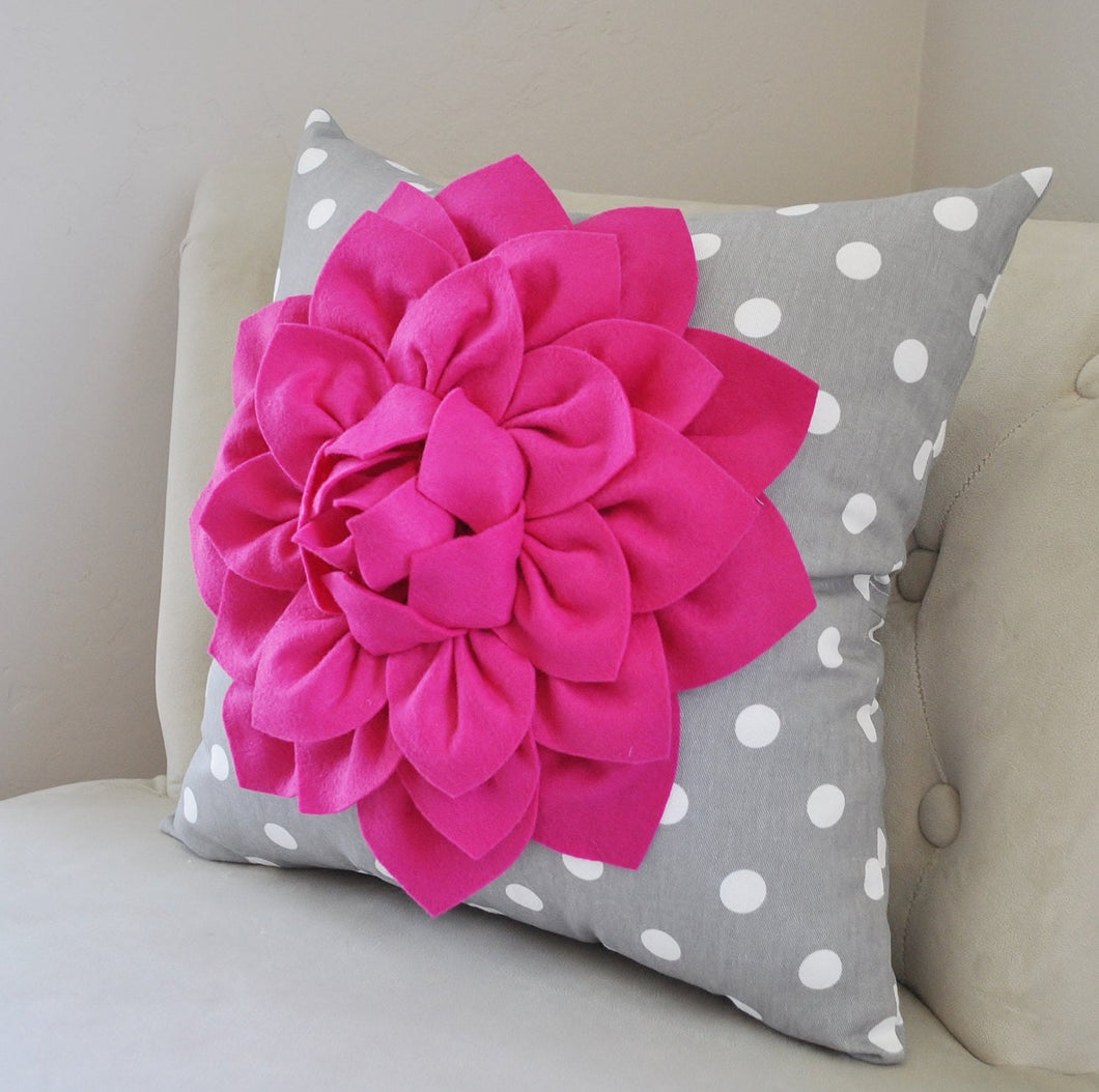 Dahlia on Polka Dot Pillow - Daisy Manor