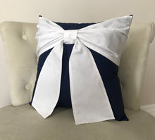 Load image into Gallery viewer, Navy Bow Pillow - Daisy Manor