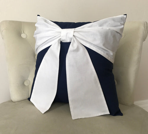 Navy Bow Pillow - Daisy Manor