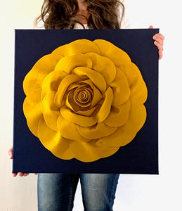 Mustard Rose on Navy Canvas