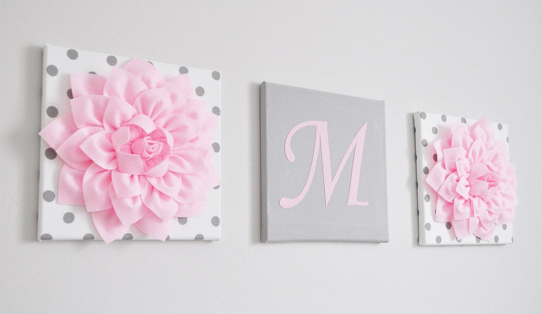 Personalized Letter and Flower Canvas set - Daisy Manor