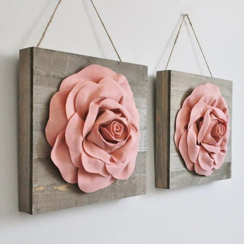 Blush Roses on Wood Canvases - Daisy Manor