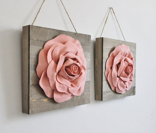Light Blush Roses on Wood Canvases - Daisy Manor