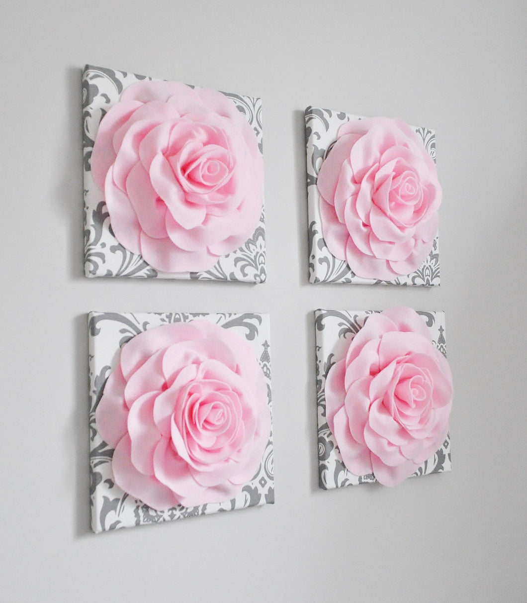 Light Pink Wall Decor Rose Wall Art Set of Four - Daisy Manor