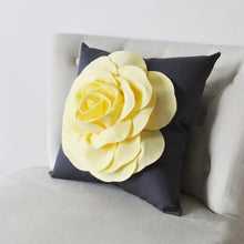 Load image into Gallery viewer, Light Yellow Rose on Charcoal Pillow - Daisy Manor