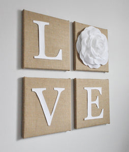 LOVE Burlap Wall Art Set - Daisy Manor