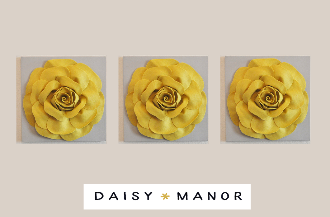 Mellow Yellow Roses on Gray Canvas - Daisy Manor