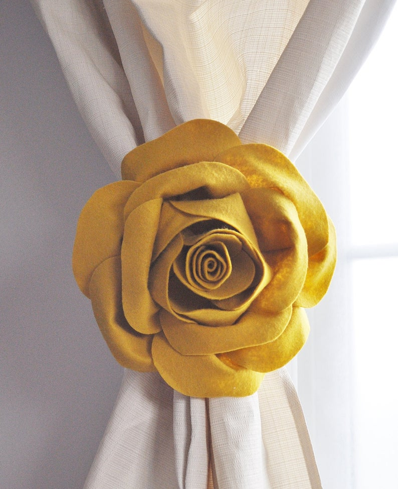 Elegant Rose Curtain Tie Back Set - Daisy Manor