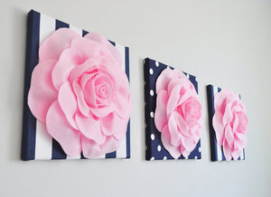 Rose Flower on Navy Stripe and Polka Dot - Daisy Manor
