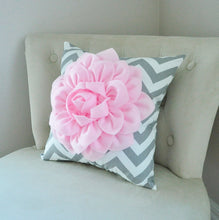 Load image into Gallery viewer, Light Pink Dahlia Flower Pillow Pink and Gray Chevron Pillow - Daisy Manor