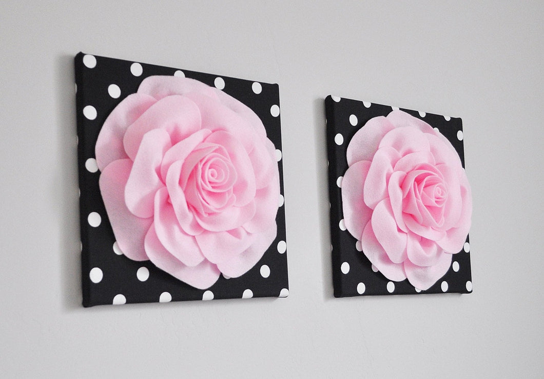 Lt. Pink Roses on Black White Polka Dot