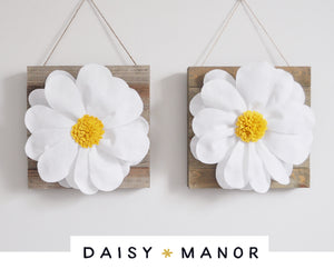 White Daisy Flowers on Wood Art - Daisy Manor