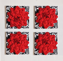 Load image into Gallery viewer, Red Dahlia flowers on Black with White Damask Canvases Perfect Christmas Decoration