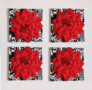 Red Dahlia flowers on Black with White Damask Canvases Perfect Christmas Decoration