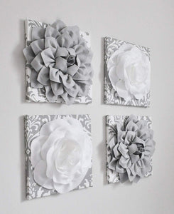 Gray Damask Wall Decor - Daisy Manor
