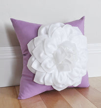 Load image into Gallery viewer, White Dahlia Flower on Lilac Pillow - Daisy Manor