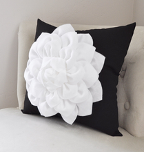 Load image into Gallery viewer, Black and White Floral Dahlia Pillow - Daisy Manor