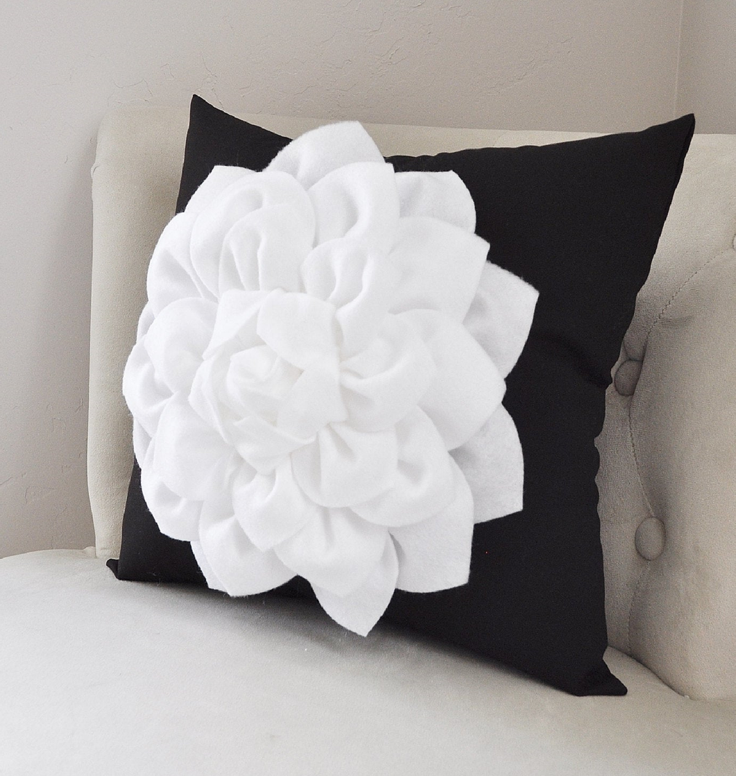 Black and White Floral Dahlia Pillow - Daisy Manor