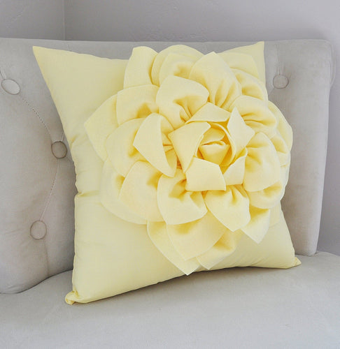 Light Yellow Dahlia Pillow - Daisy Manor