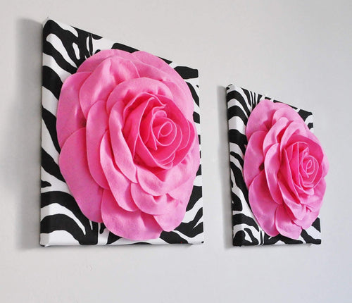 Pink Roses on Zebra Wall Art