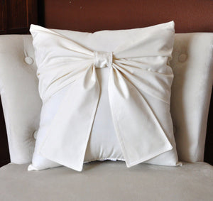 Ivory and Cream Bow Pillow Decorative Big Bow Pillow - Daisy Manor