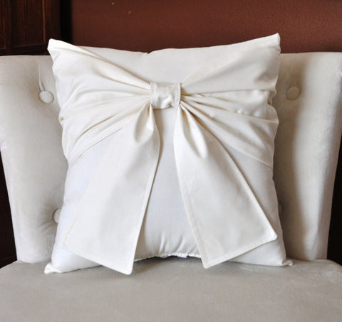 Cream Bow Pillow