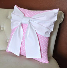 Load image into Gallery viewer, Pink Polka Bow Pillow - Daisy Manor