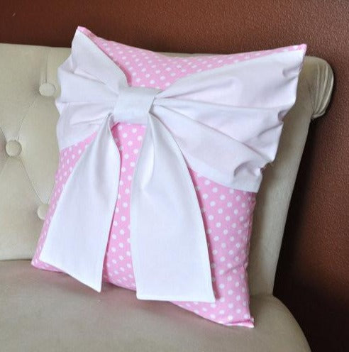 Pink Polka Bow Pillow - Daisy Manor